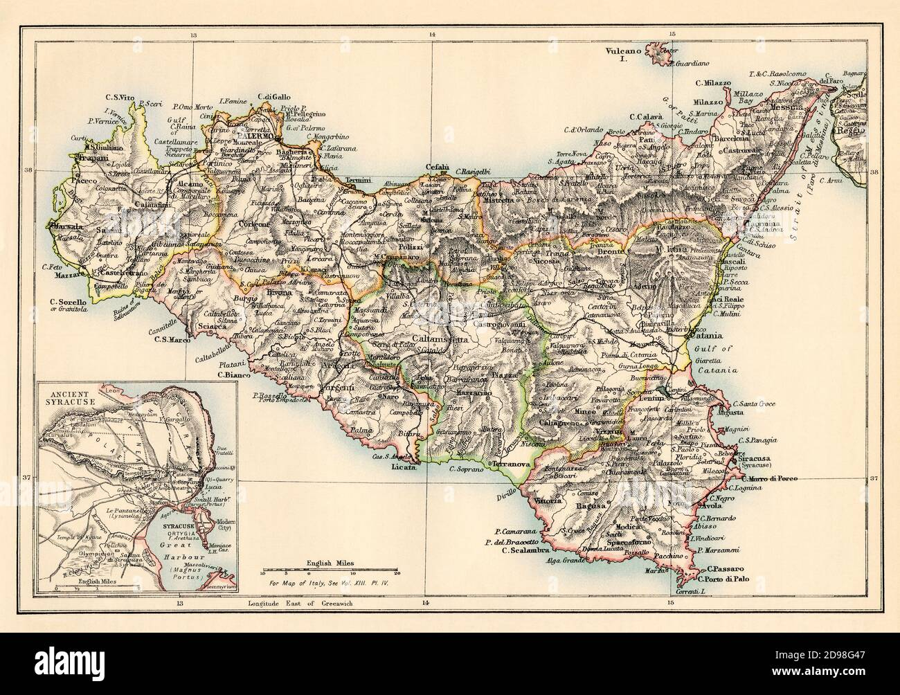 Map of Sicily in the 1870s. Color lithograph Stock Photo