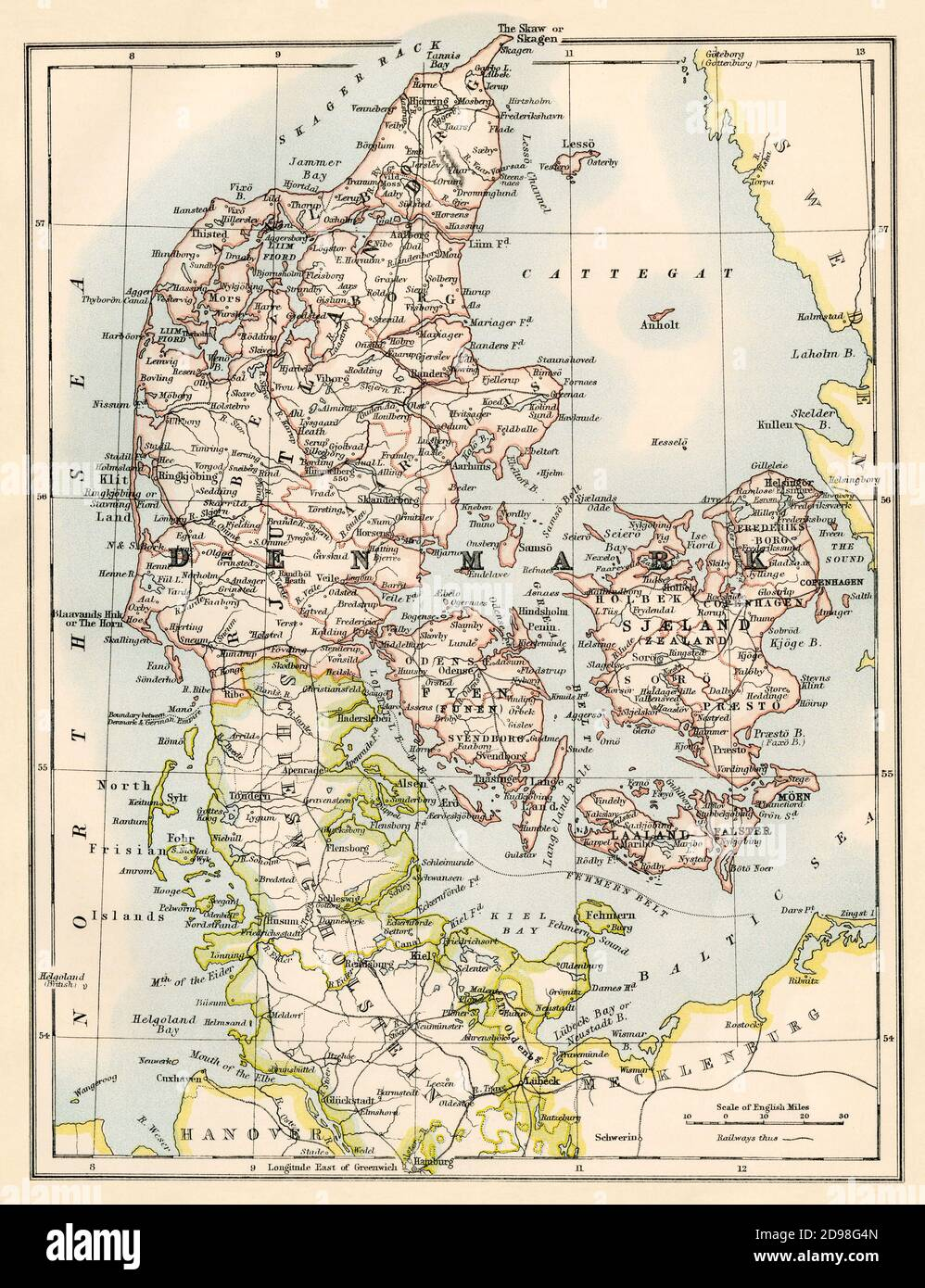 Map of Denmark in the 1870s. Color lithograph Stock Photo