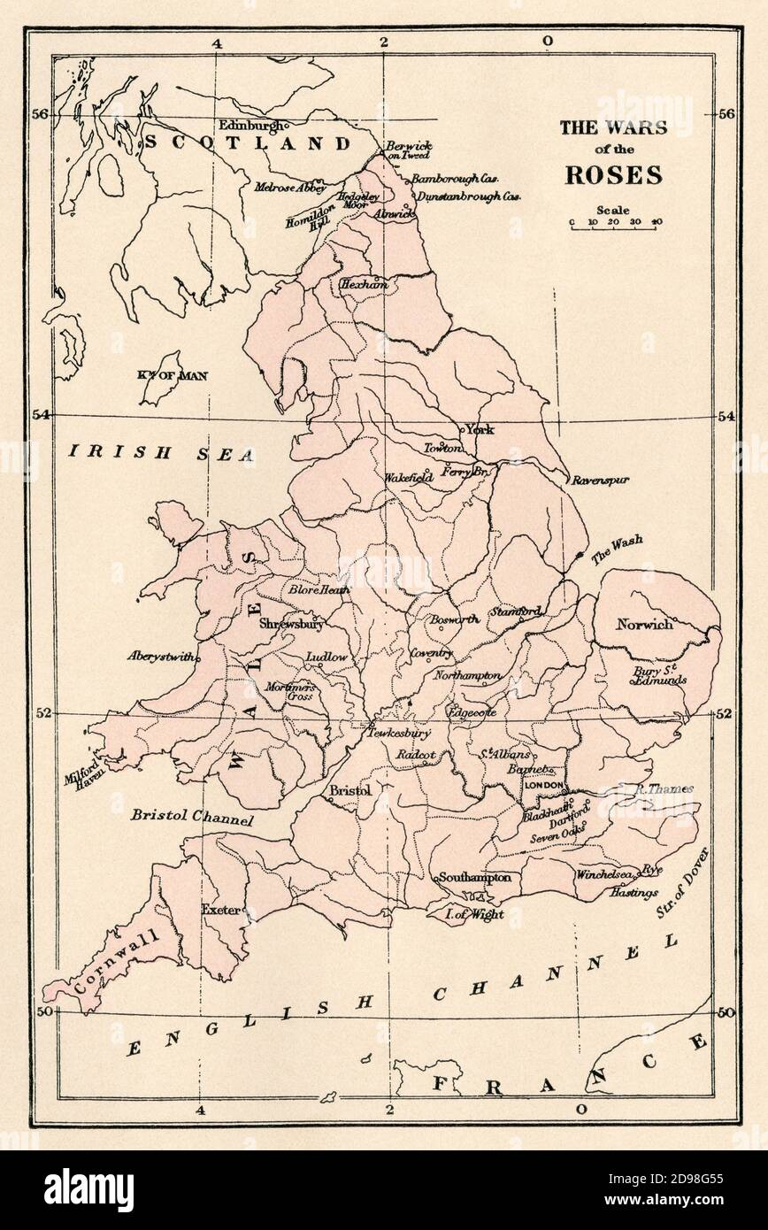 Map of sites of Wars of the Roses, medieval Britain. Color lithograph Stock Photo