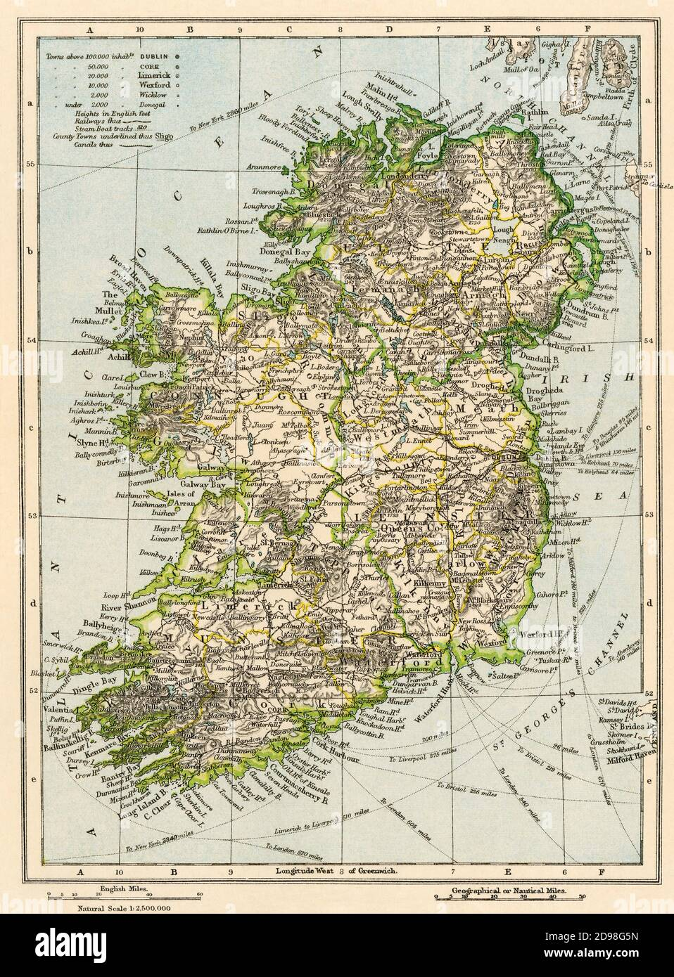 Map of Ireland, 1870s. Color lithograph Stock Photo