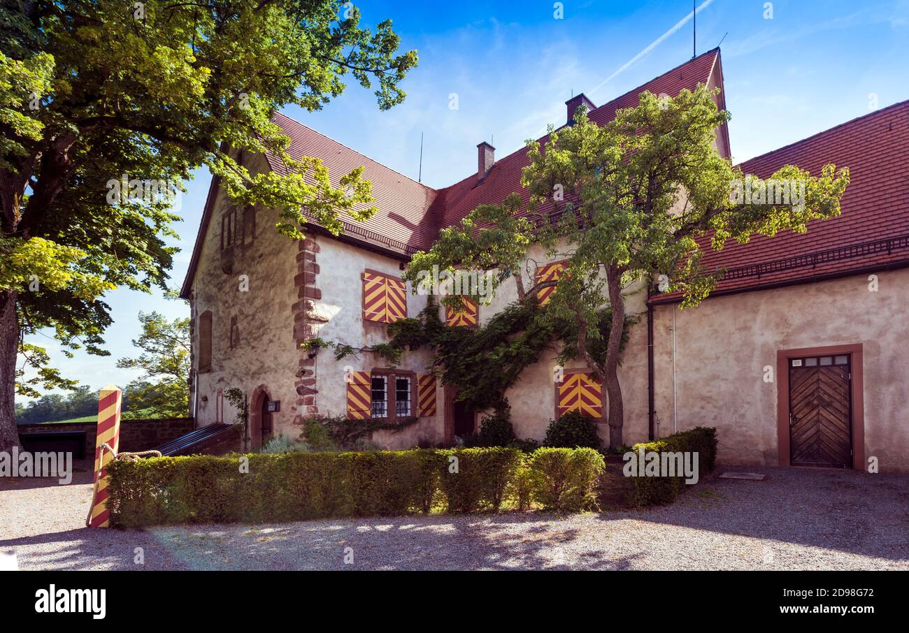The courtyard of Castle Staufenberg with the buildings near the village Durbach in the region Ortenau_ Baden Wuerttemberg, Germany Stock Photo