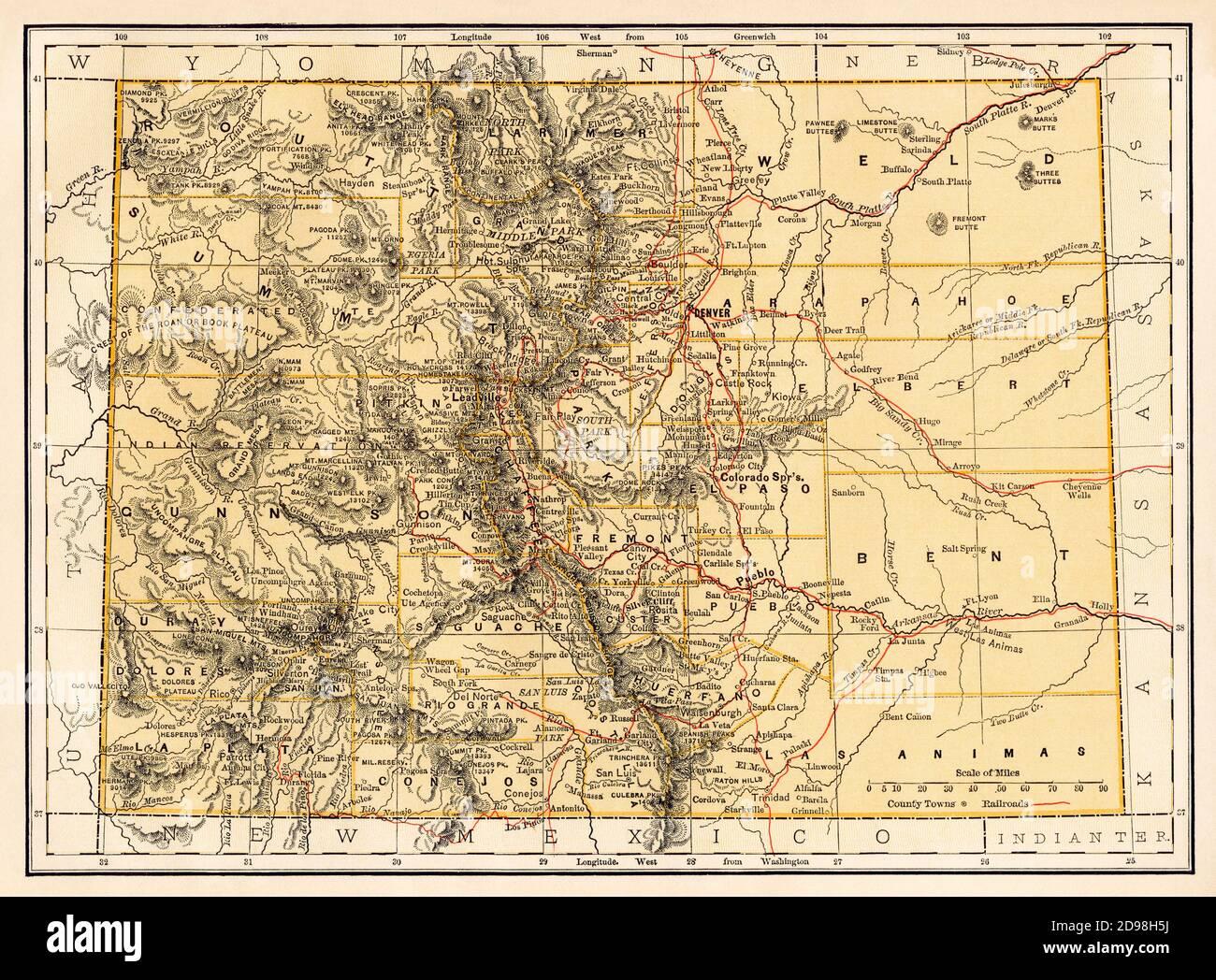 Colorado map, 1870s. Color lithograph Stock Photo