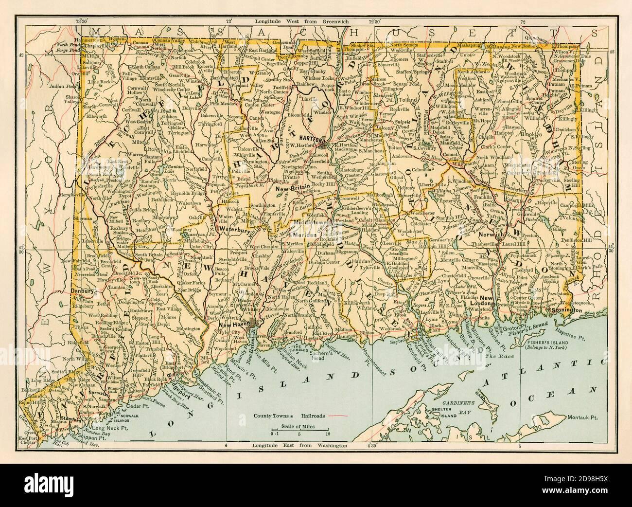 Connecticut map, 1870s. Color lithograph Stock Photo