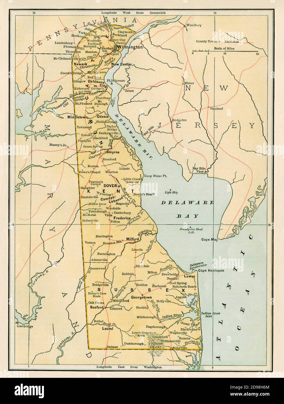Delaware map, 1870s. Color lithograph Stock Photo