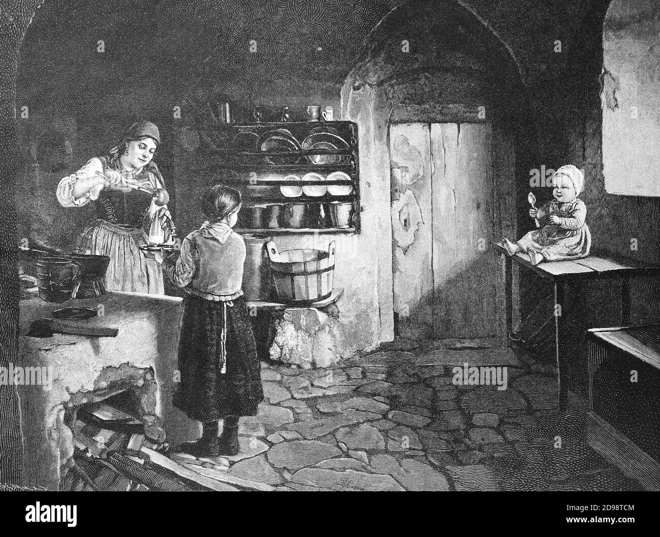 kitchen scene in a farmhouse, 1887, Austria, the hungry baby waits impatiently for his meal  /  Küchenszene in einem Bauernhaus, 1887, Österreich, das hungrige Baby wartet ungeduldig auf seine Mahlzeit, Historisch, historical, digital improved reproduction of an original from the 19th century / digitale Reproduktion einer Originalvorlage aus dem 19. Jahrhundert, Stock Photo