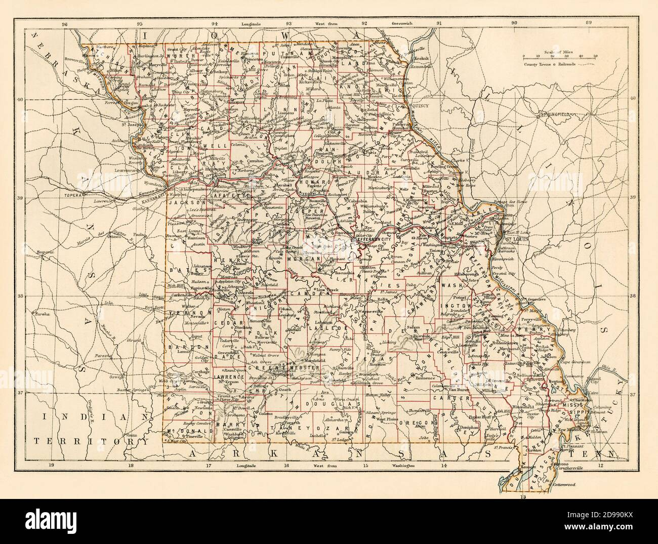 Missouri map, 1870s. Color lithograph Stock Photo