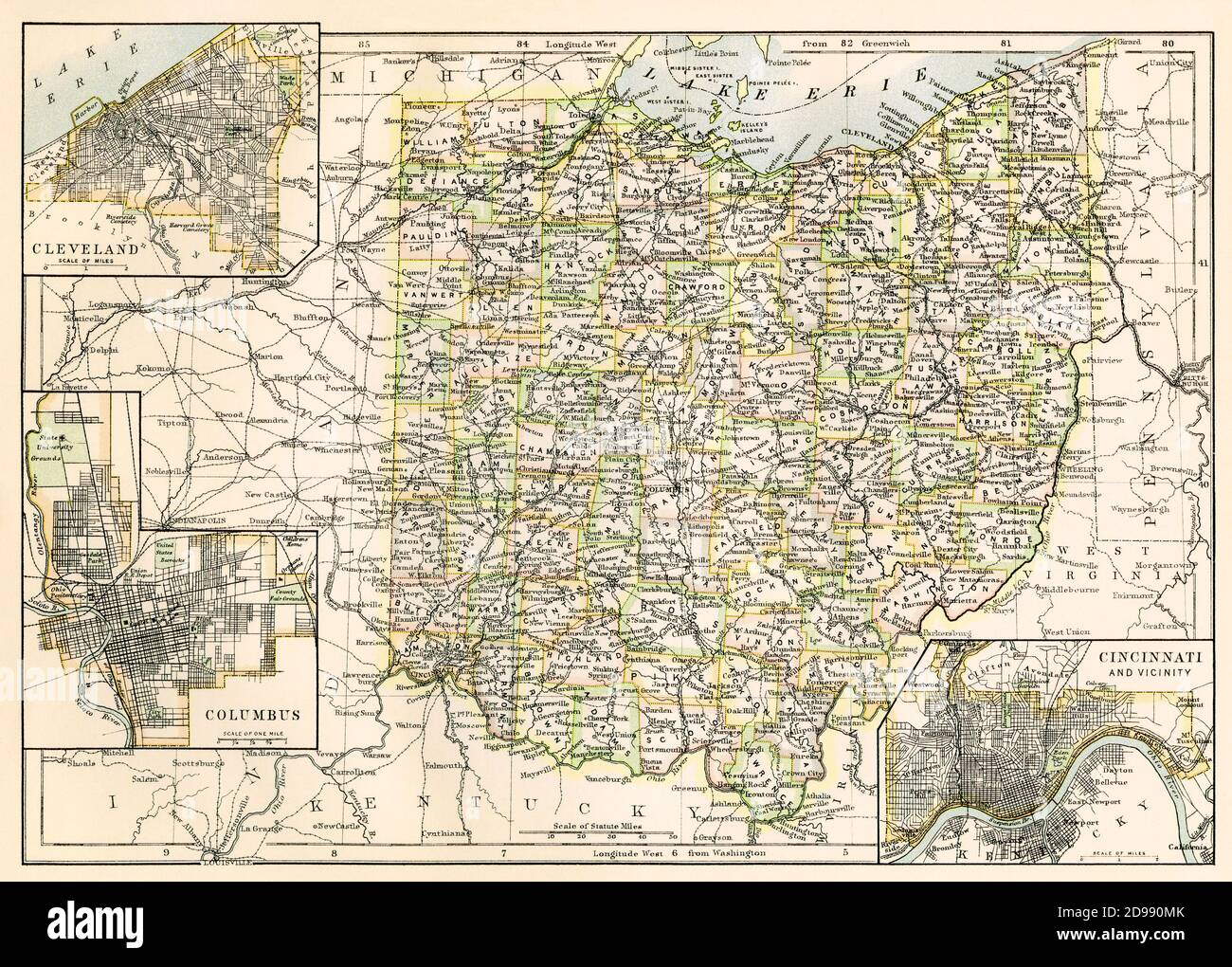 Ohio map, 1870s. Color lithograph Stock Photo