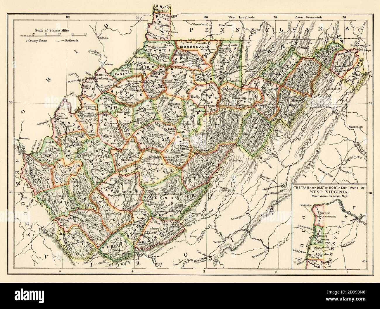 West Virginia map, 1870s. Color lithograph Stock Photo