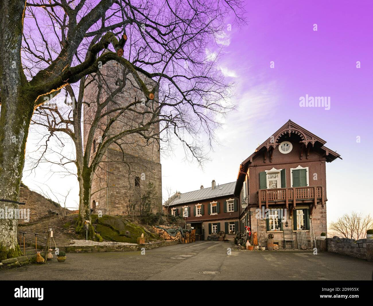 Overlooking the courtyard and the castle keep of the Yburg_Baden Baden_southern Germany Stock Photo