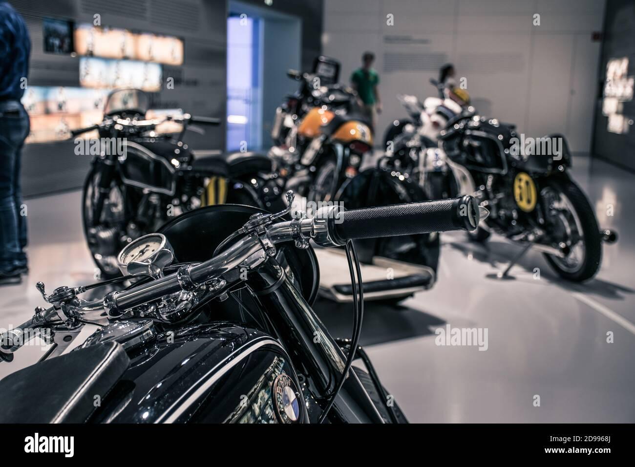 Munich Germany May 24 2019 Classic Bmw Motorcycles In Bmw Museum Bmw Welt Stock Photo Alamy