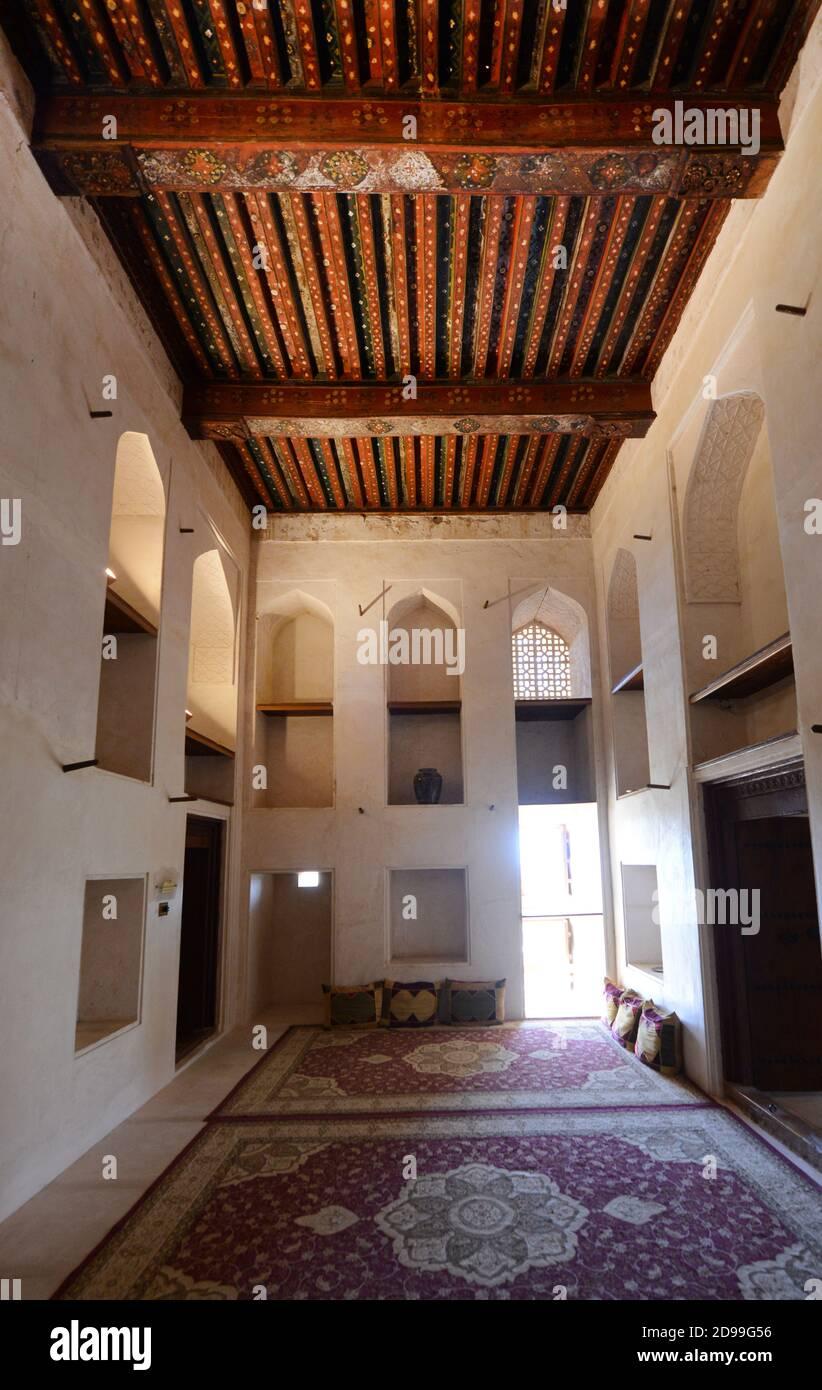 The beautiful interior of the Jibreen castle in Oman. Stock Photo