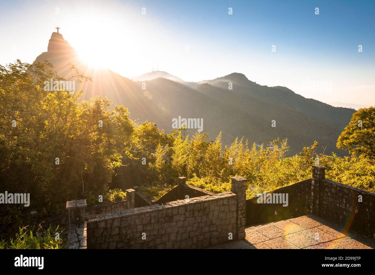Beautiful Warm Sunset View in the Park With Corcovado Mountain in Rio de Janeiro Stock Photo