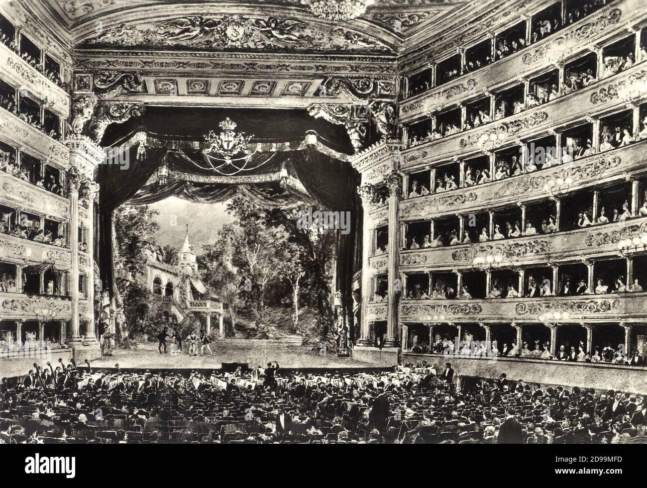 1895 c : the most celebrated italian Opera House TEATRO ALLA SCALA in MILANO  during a Gaetano
