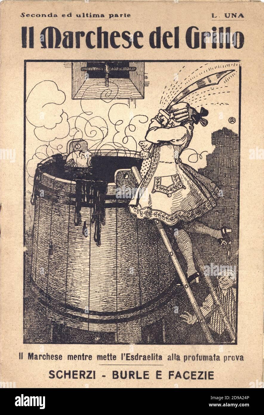 1920 ca , Roma, ITALY  : The cover of popular edition book IL MARCHESE DEL GRILLO : SCHERZI BURLE E FACEZIE , A. Mondini Editore , Roma . The story was a fantasy based on the real nobleman Marchese Onofrio del Grillo ( Fabriano, 5 may 1714 –  6 january 1787) - copertina - cover - libro comico - comicita' popolare - illustrazione - illustration - EBREO - JEWISH - ISRAELITA - RAZZISMO - RACISM - LETTERATURA - LITERATURE - portrait - ritratto - letterato - ITALY  © Archivio GBB / Stock Photo