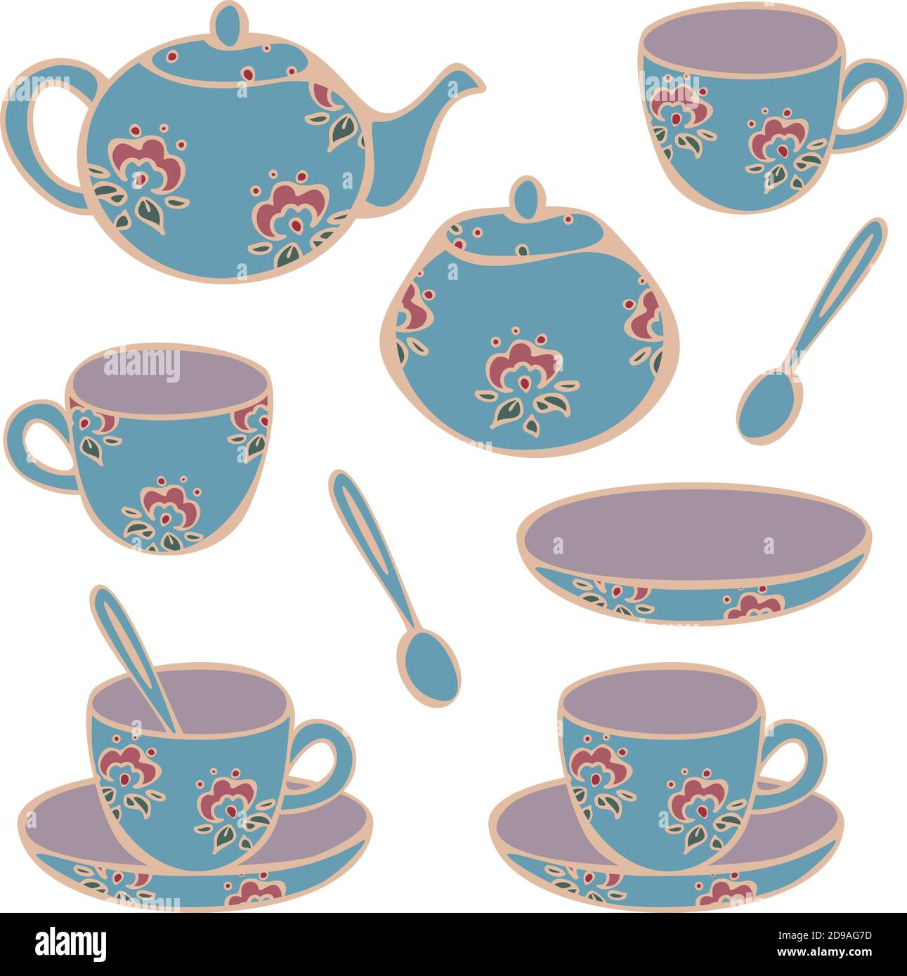 Vector Set Of Crockery For Tea Drinking Cups Mugs Teapot And Sugar Bowl Concept For Tea Store Or Cafe Collection Of Classic Cups For Tea Stock Vector Image Art Alamy