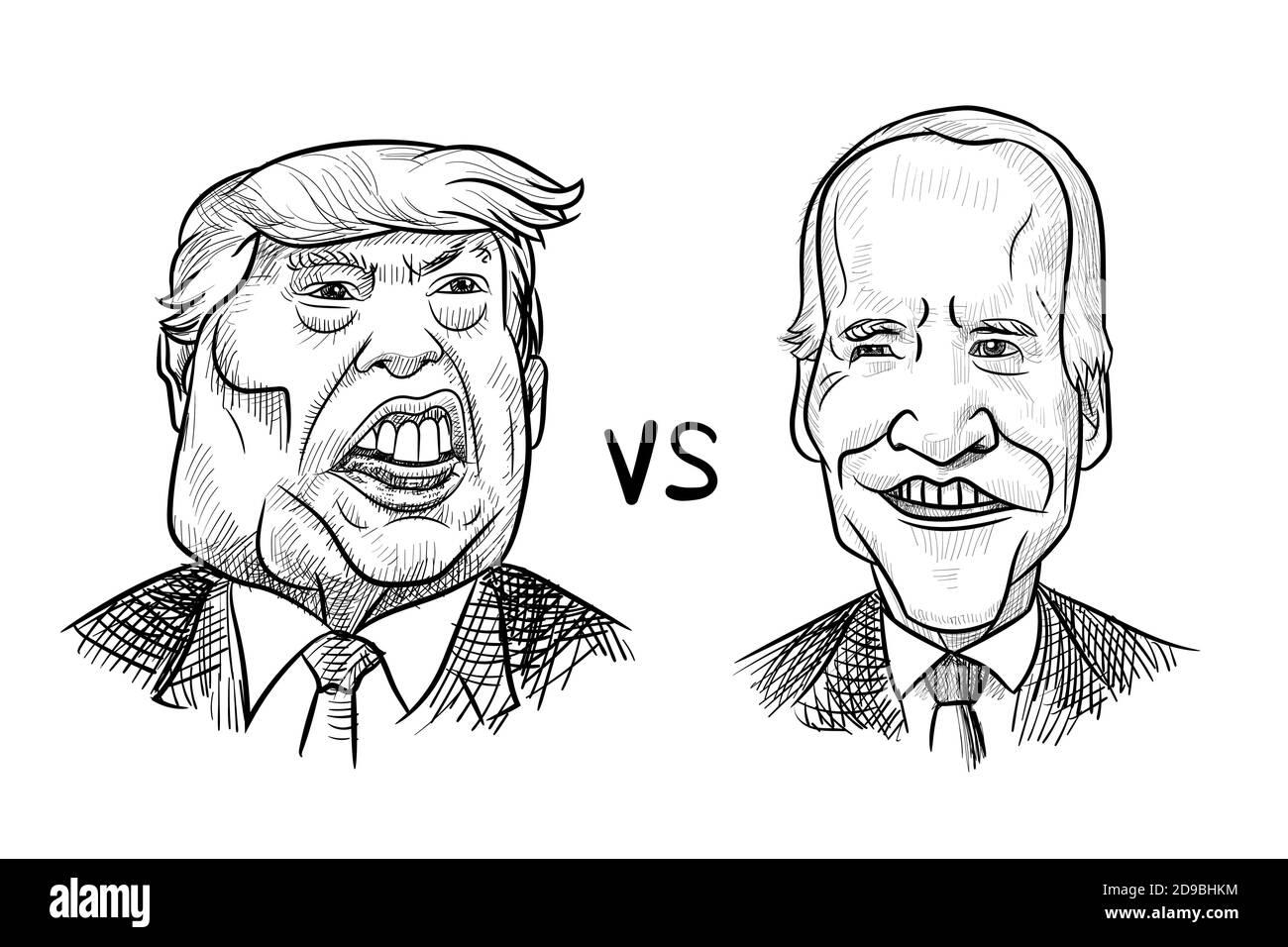 Nov 4, 2020, Bangkok, Thailand: Caricature drawing portrait of Republican Donald Trump vs Democrat Joe Biden for American President Election 2020. Stock Vector