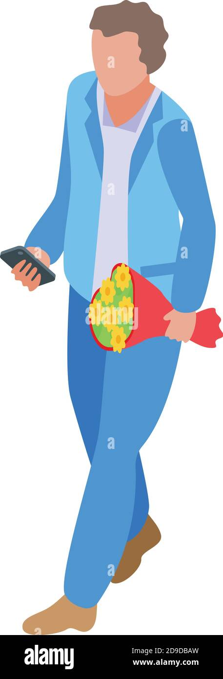 Online dating man with flower bouquet icon. Isometric of online dating man with flower bouquet vector icon for web design isolated on white background Stock Vector