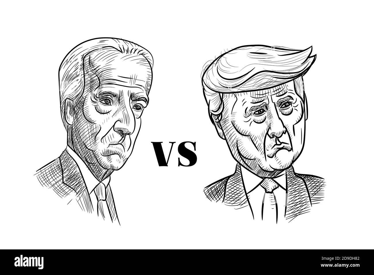 Nov 5, 2020, Bangkok, Thailand: Caricature drawing portrait of Republican Donald Trump vs Democrat Joe Biden, sad face, for American President Electio Stock Vector