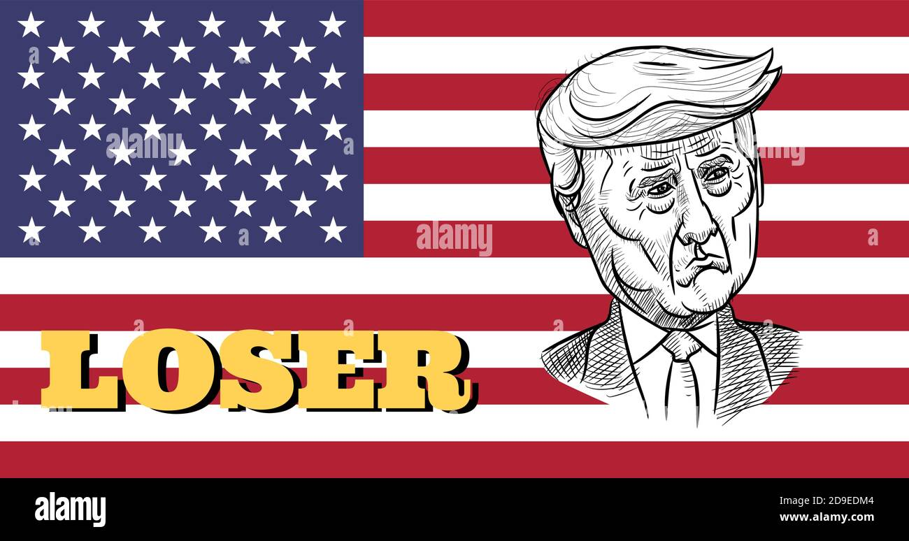 Nov 5. 2020, Bangkok, Thailand: Caricature drawing portrait of Republican Donald Trump, the loser for American President Election 2020, on US flag. Stock Vector