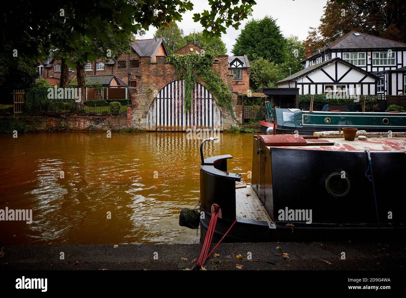Built to accommodate the Duke of Bridgewater's canal barge grade II listed Old Boat House, Bridgewater Canal, Worsley Stock Photo