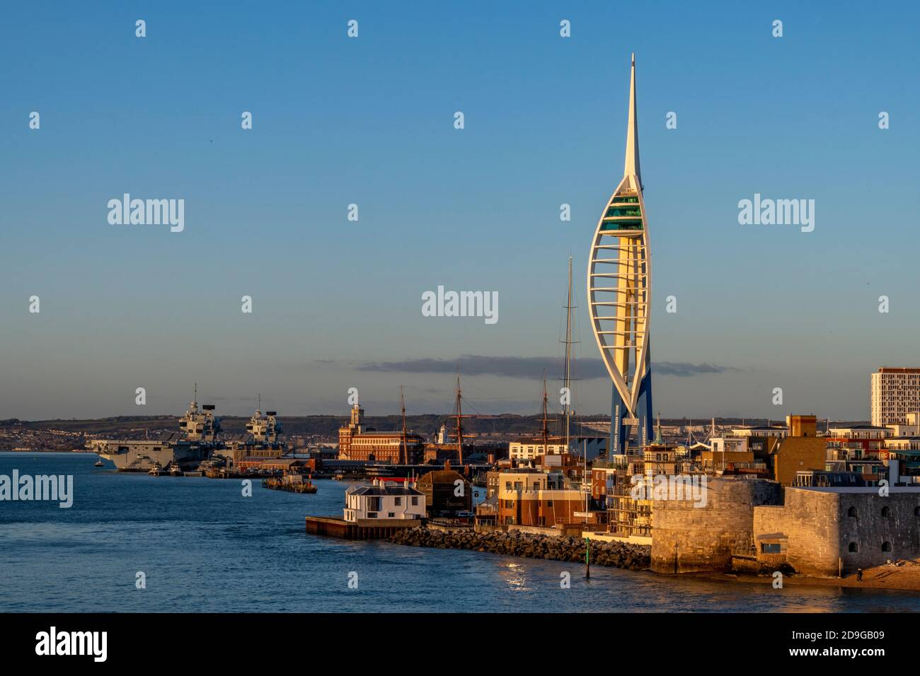 the entrance to the historic dockyard harbour at portsmouth on the south coast of the uk on the solent. Stock Photo