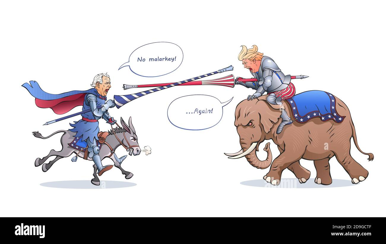 Joe Biden and Donald Trump attack each other with tournament lances like a medieval knights. Fighters ride a donkey and an elephant. Political cartoon Stock Vector