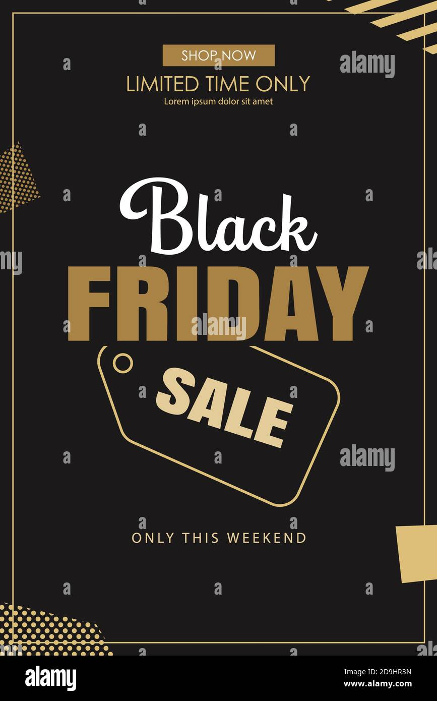 Black Friday Sale Ads Banner Gold And Black Color Background Template Use For Cover Card Flyer Coupon Voucher Poster And All Media Stock Vector Image Art Alamy