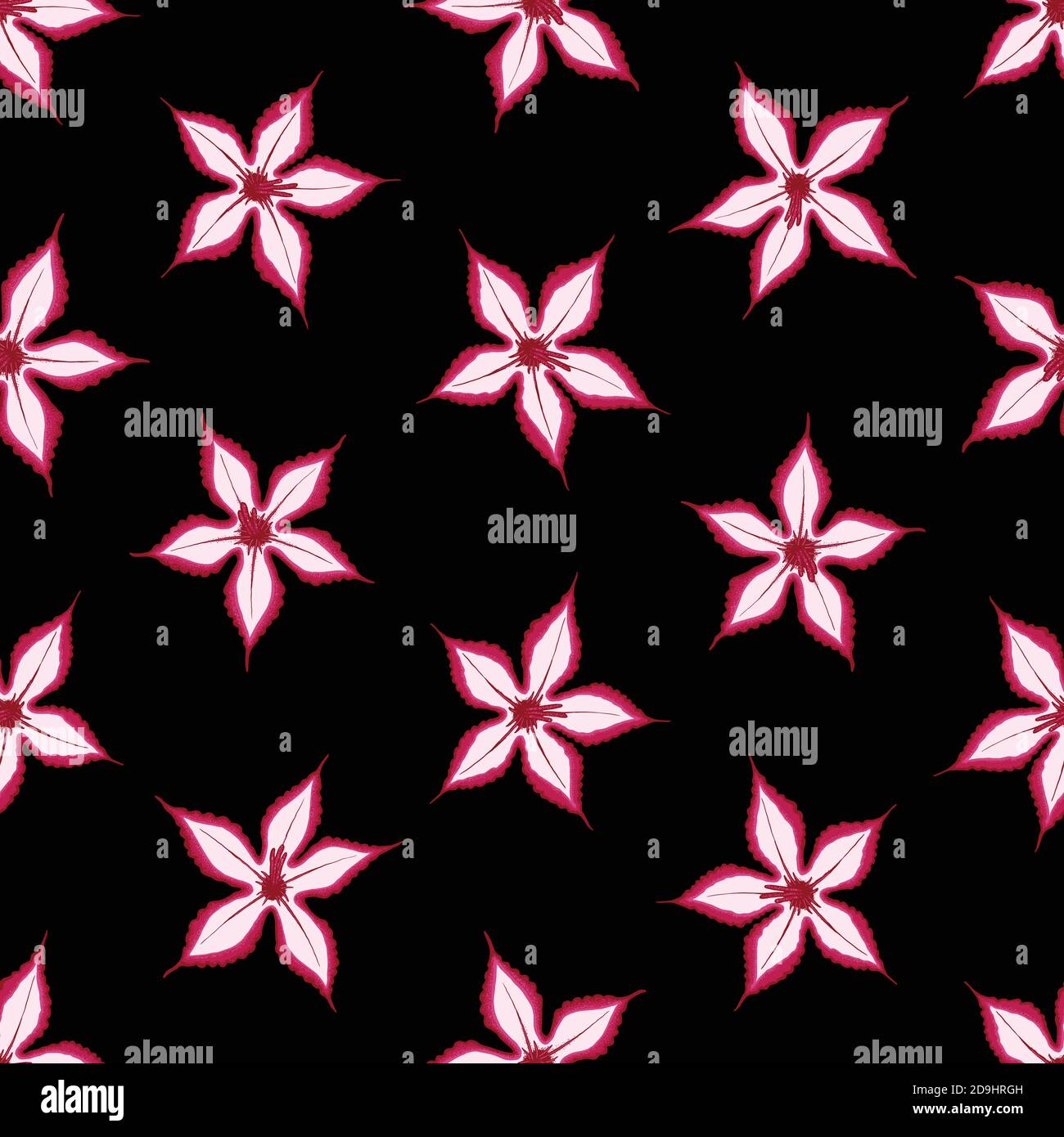 Pink Impala seamless pattern with black background. Desert wild flower concept. Vector illustration pattern for surface, t shirt design, print, poster Stock Vector