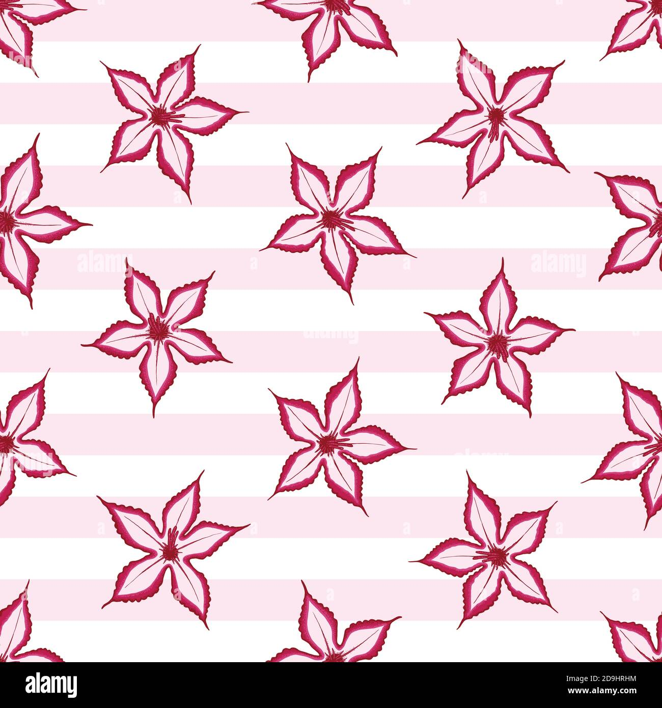 Pink Impala seamless pattern with stripes background. Desert wild flower concept. Vector illustration pattern for surface, t shirt design, print, post Stock Vector