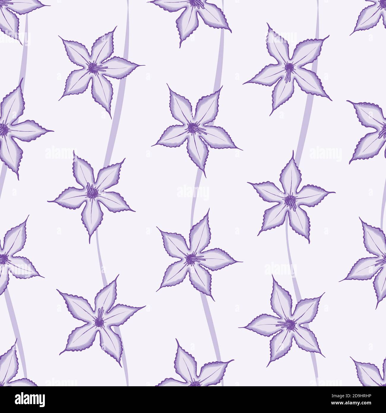 Purple Impala seamless pattern with swirl lines background. Desert wild flower concept. Vector illustration pattern for surface, t shirt design, print Stock Vector