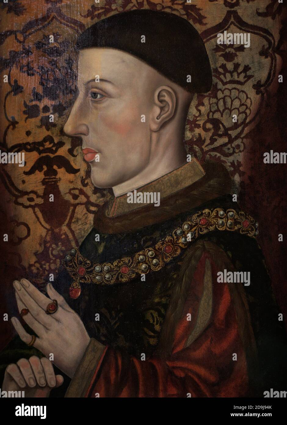 Henry V (c.1387-1422) king of England from 1413 until 1422. Portrait by an unidentified artist. Oil on panel. Late 16th century-Early 17th century. National Portrait Gallery. London, England, United Kingdom. Stock Photo