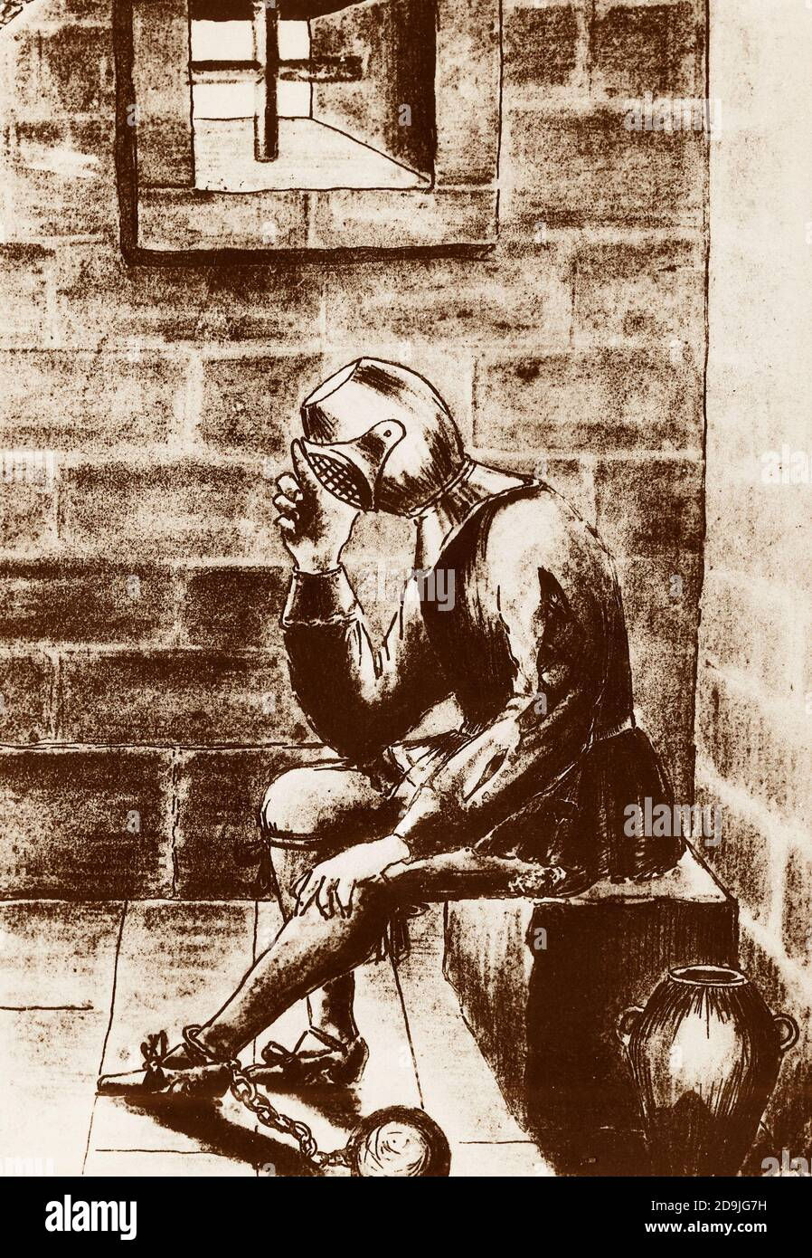 The man in the iron mask imprisoned Stock Photo