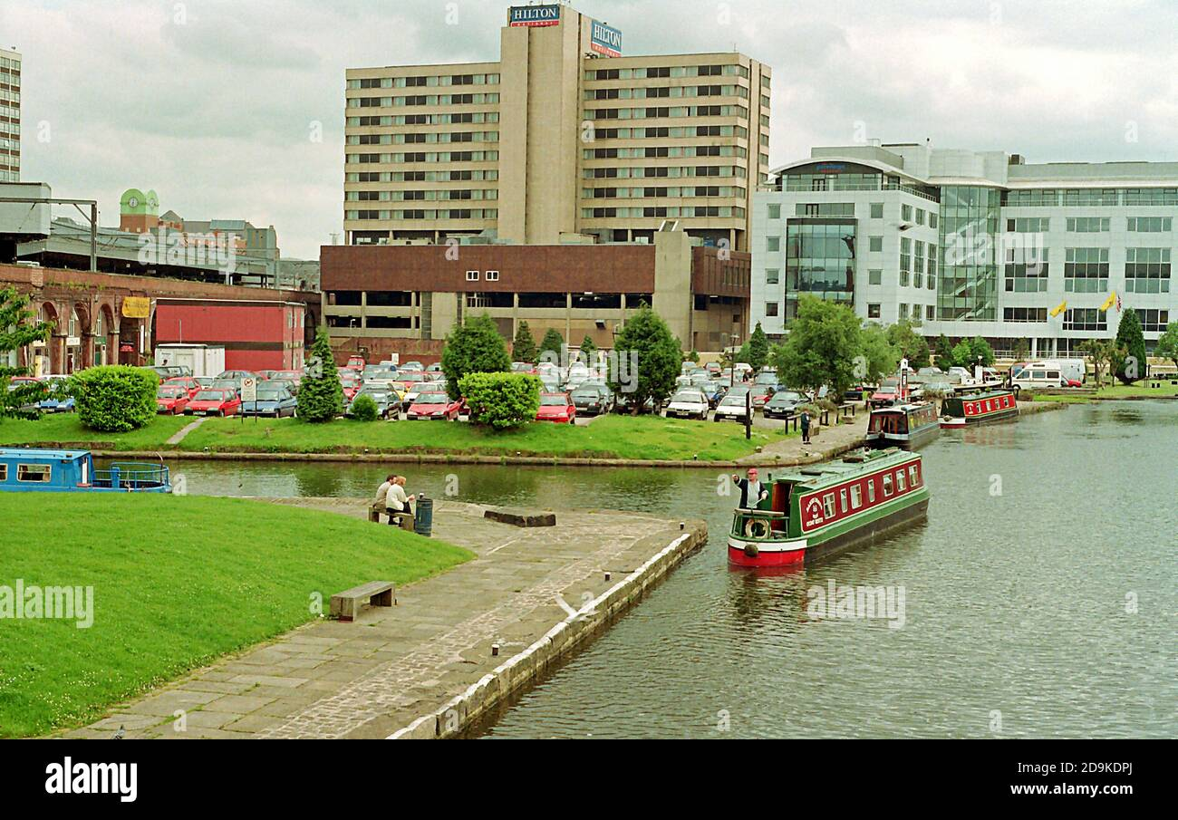 Canal Boats in the Leeds Canal Basin area before the 21st Century regeneration changed the scene. Stock Photo