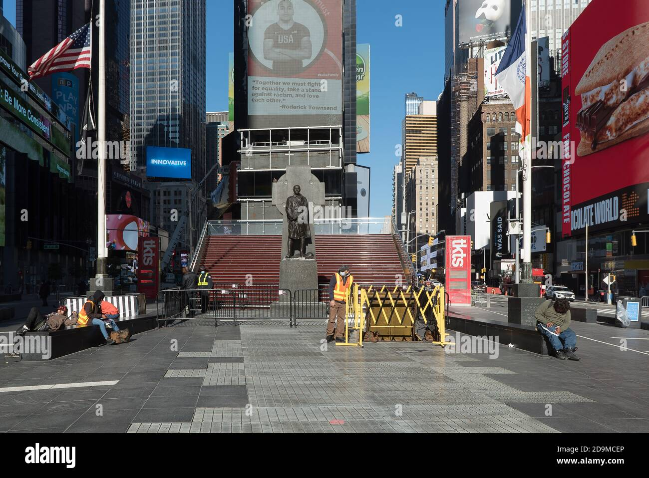 View of an empty Times Square in New York Stock Photo