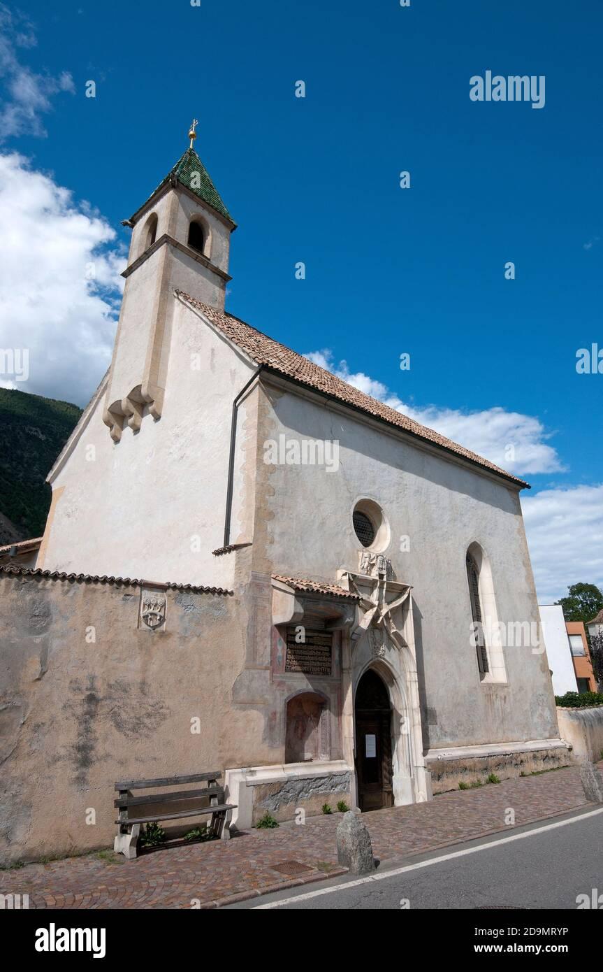 Hospital Church of the Holy Spirit, Laces, Venosta Valley (Vinschgau), Bolzano, Trentino-Alto Adige, Italy Stock Photo