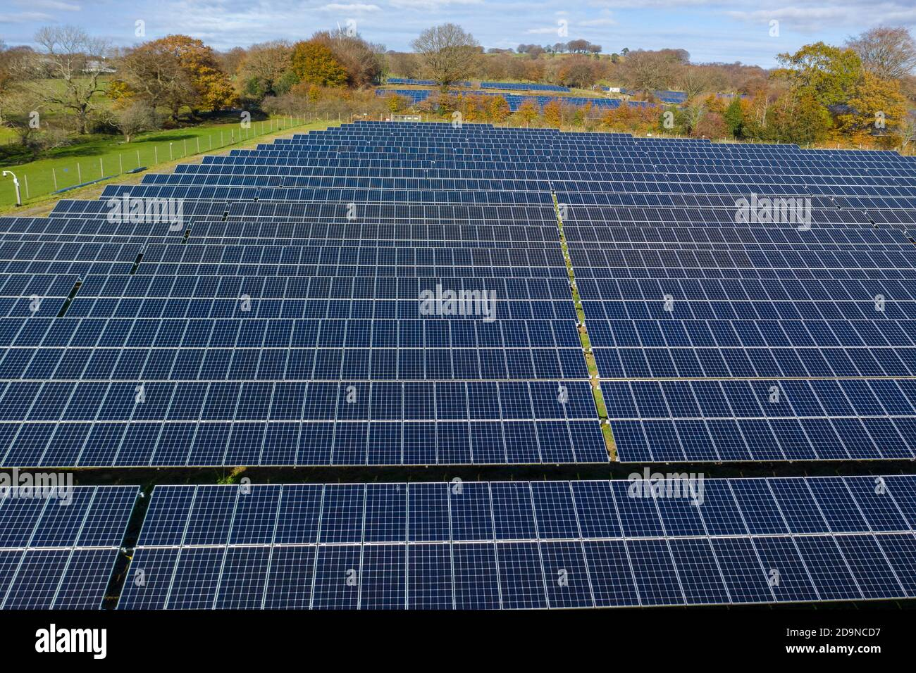 Aerial view of solar farm in welsh valleys. clean energy concept. drone shot Stock Photo