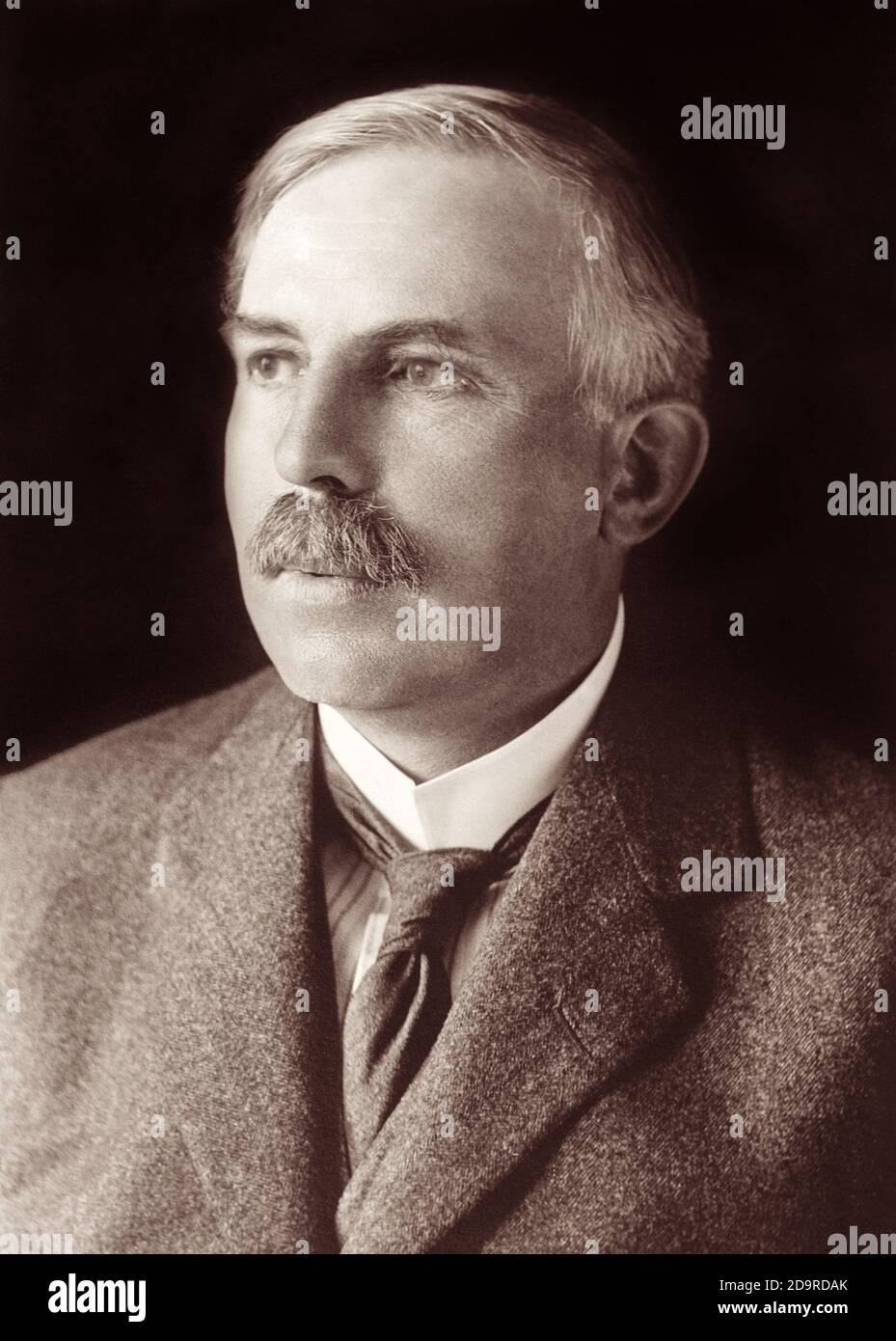 Ernest Rutherford (1871–1937), New Zealand–born British physicist known for his pioneering studies of radioactivity and the atom, and who came to be known as the father of nuclear physics. Stock Photo