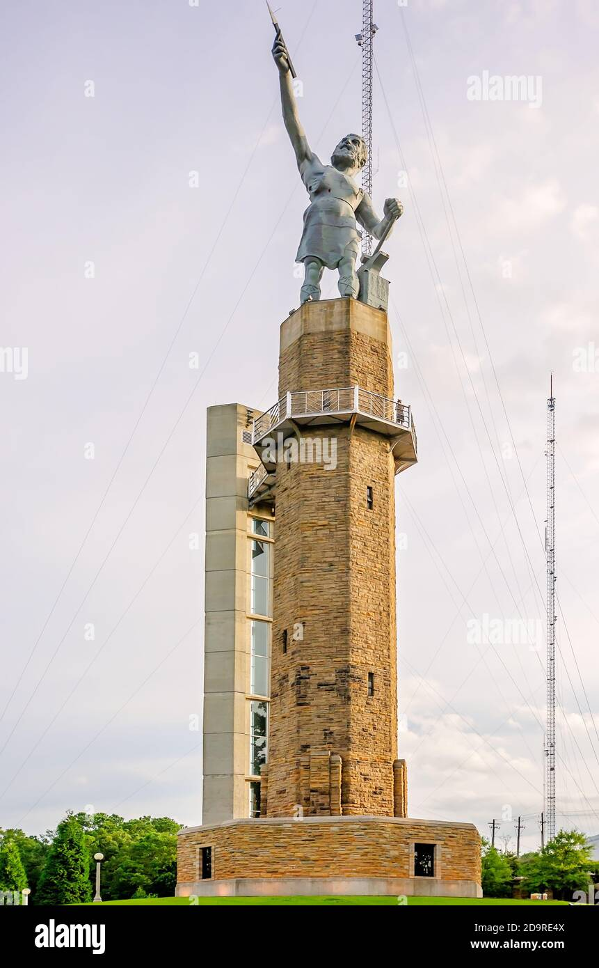 The Vulcan statue is pictured in Vulcan Park, July 19, 2015, in Birmingham, Alabama. The iron statue depicts the Roman God of fire and forge, Vulcan. Stock Photo