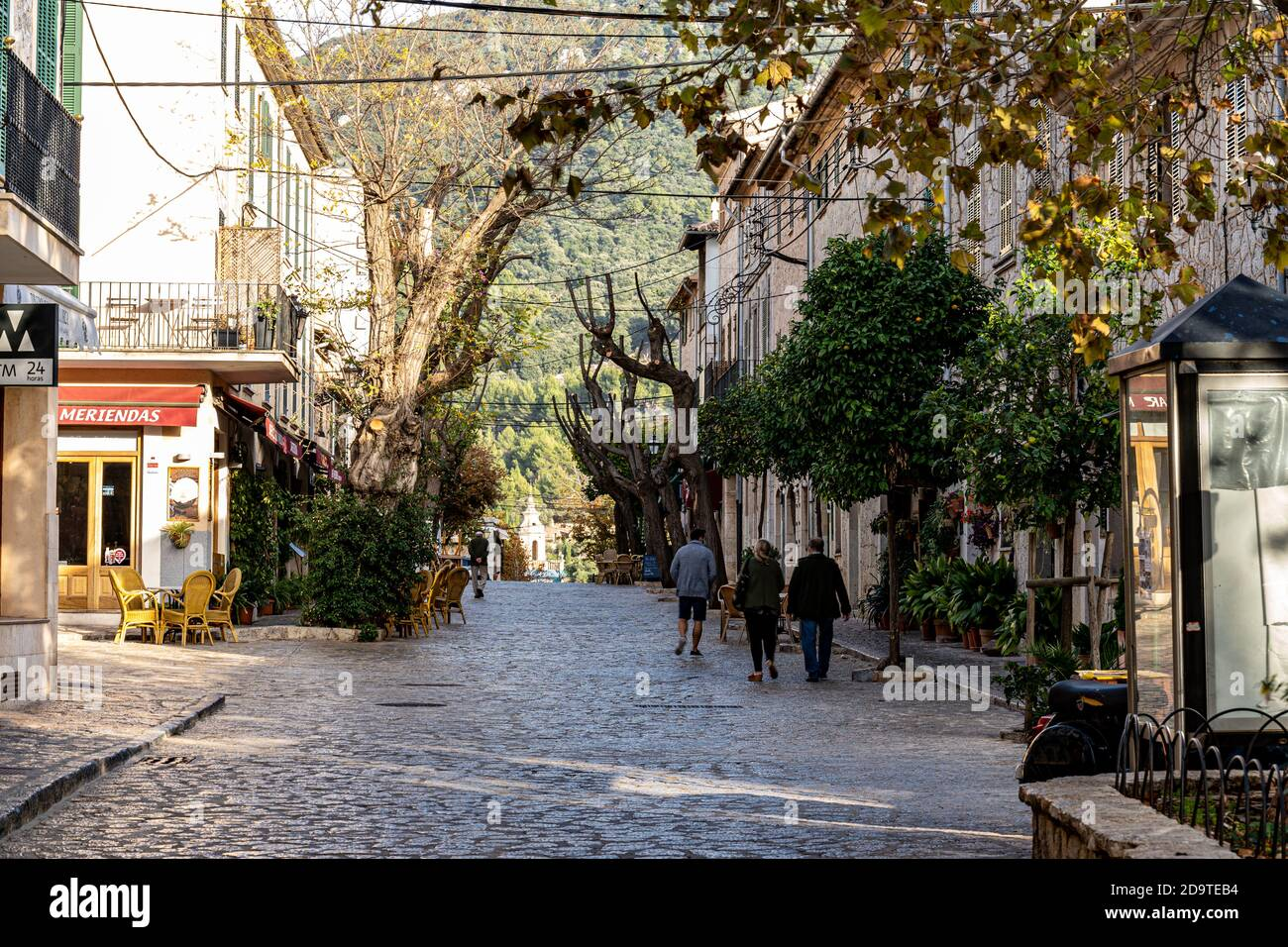 Street view of the town of Valldemossa, one of the most beautiful in Spain. Stock Photo