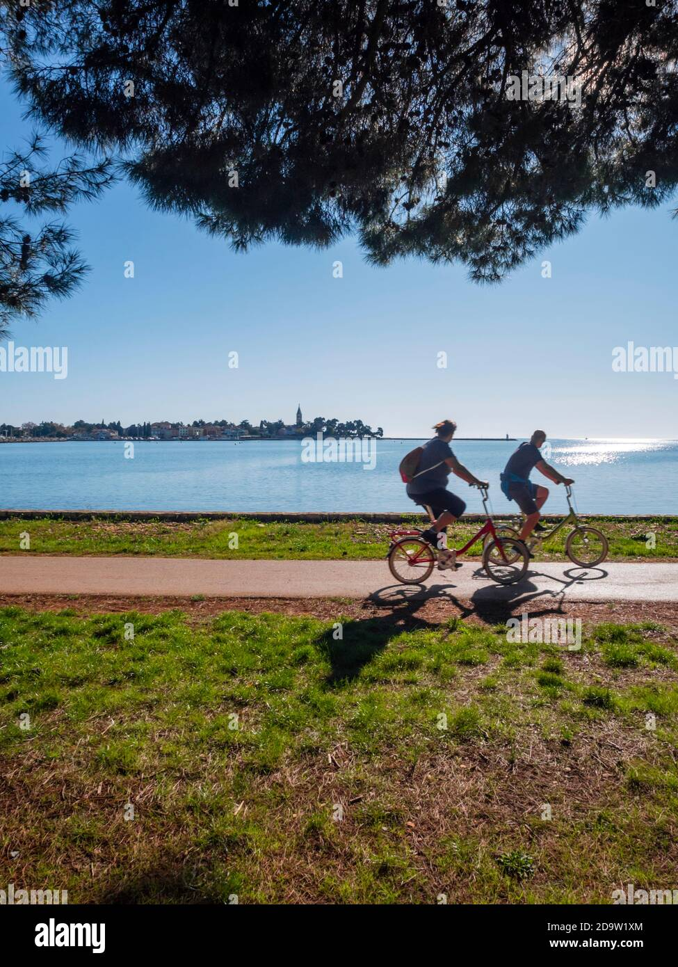 Two humans human beings tourists visitors persons driving passing by bicycle cycling before oldtown old town silhouetting silhouette Novigrad Croatia Stock Photo
