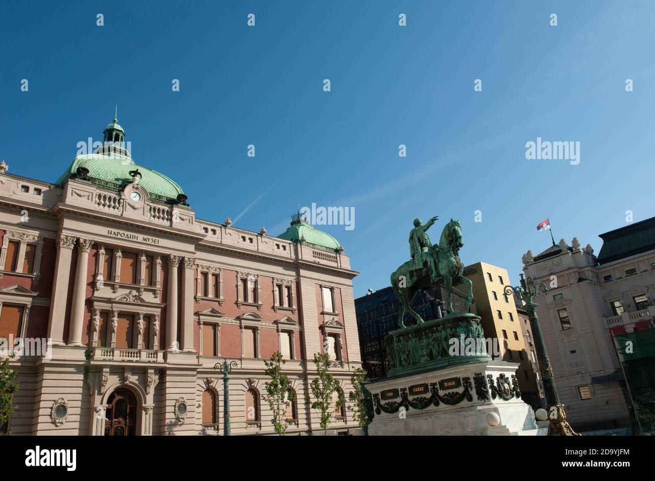 Belgrade, Serbia. July 23rd 2019  Prince Mihailo Monument in front of the National Museum of Serbia, Republic Square, Belgrade. Stock Photo