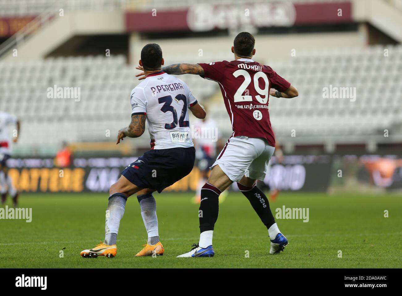 Pedro Pereira of FC Crotone  and Nicola Murru of Torino FC during the Serie A match between Torino FC and Crotone FC at Olympic Grande Torino Stadium Stock Photo