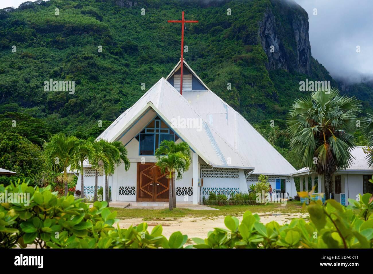 St Pierre Celestin church in Vaitape Bora Bora French Polynesia Stock Photo