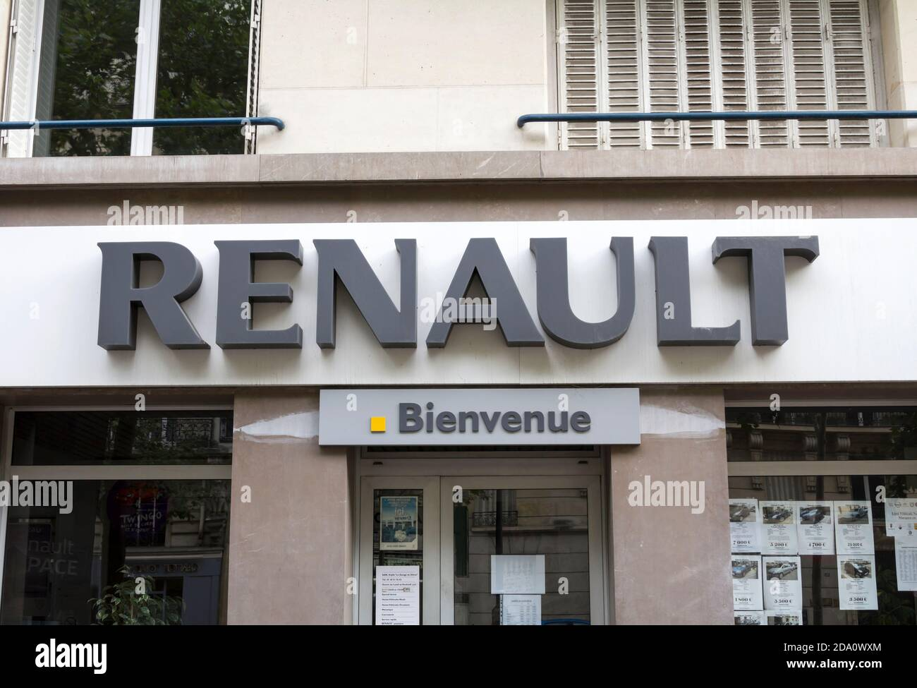 Renault logo in Paris France. Renault S.A. is a French car ...