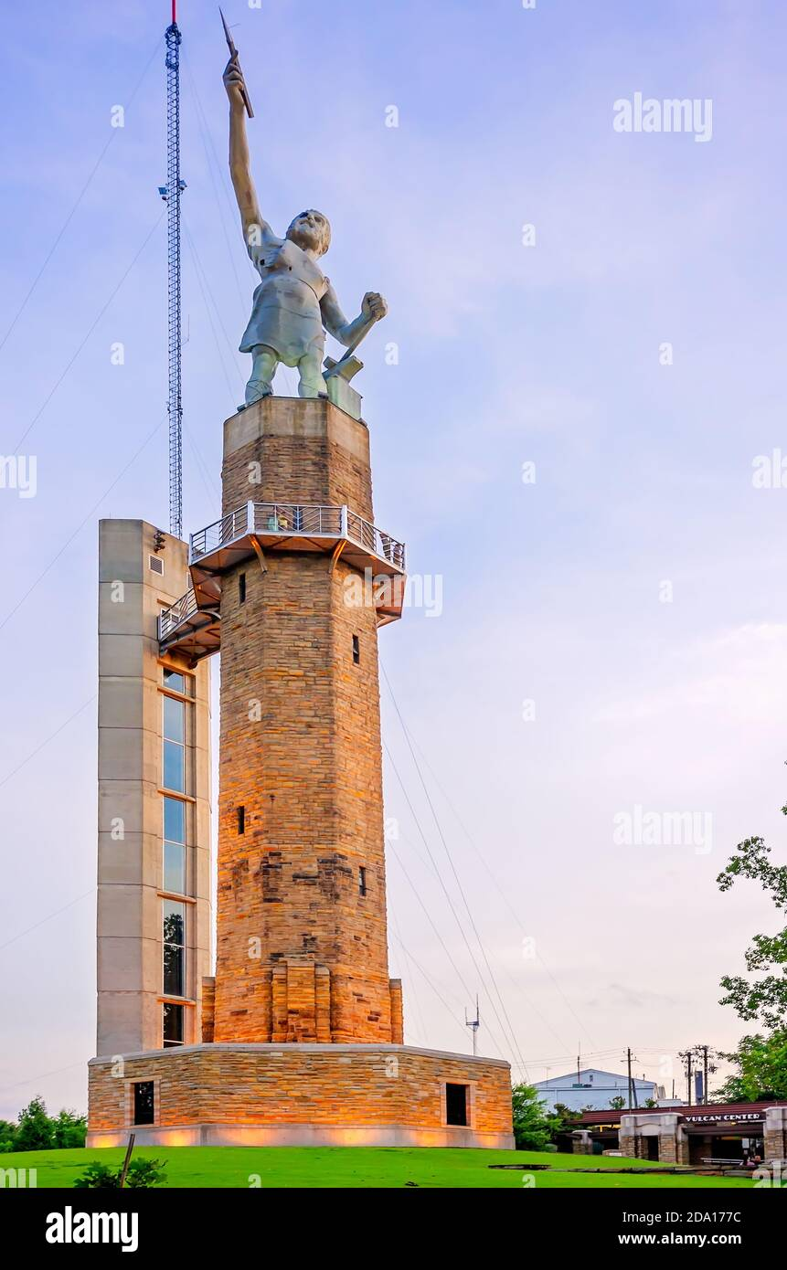 The Vulcan statue is pictured in Vulcan Park in Birmingham, Alabama. The iron statue depicts the Roman God of the fire and forge, Vulcan. Stock Photo