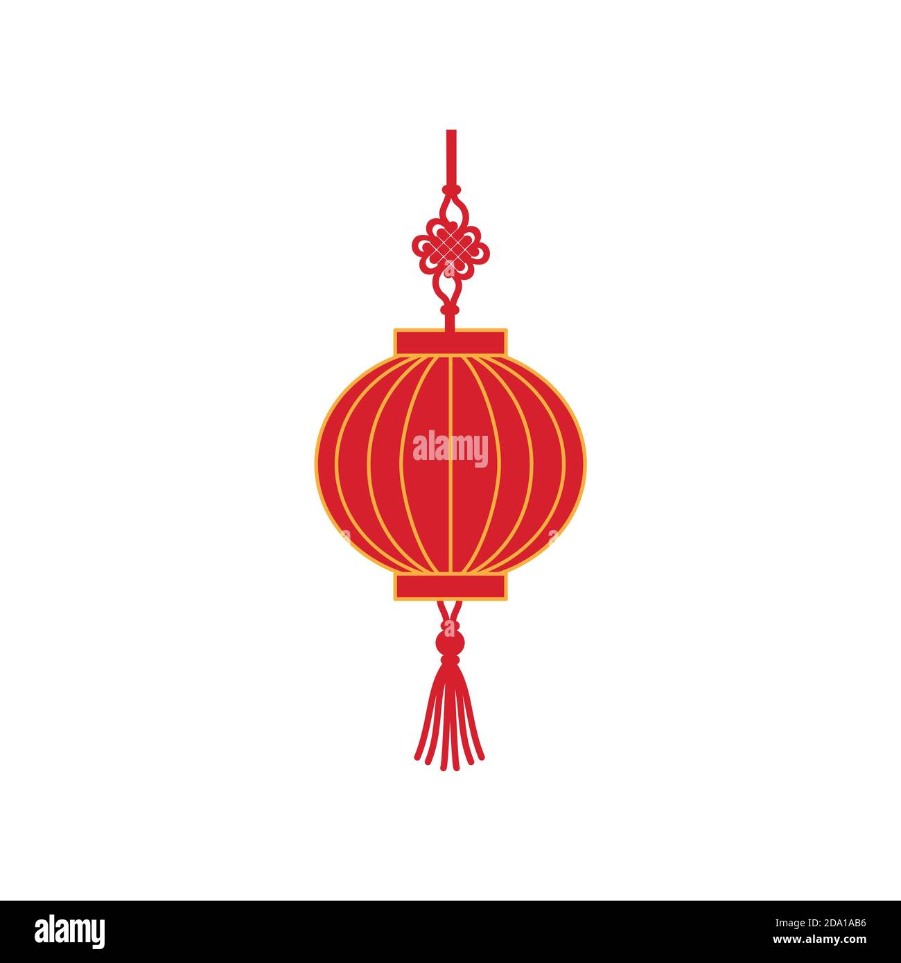 Chinese red holiday lantern flat vector illustration. Traditional lamp from China. Stock Vector
