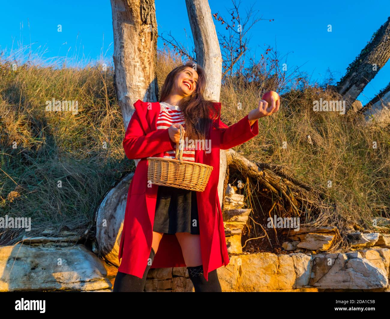 Young woman aka little Red Riding Hood with pastoral wicker basket  standing apple in hand happy smiling laughing Stock Photo