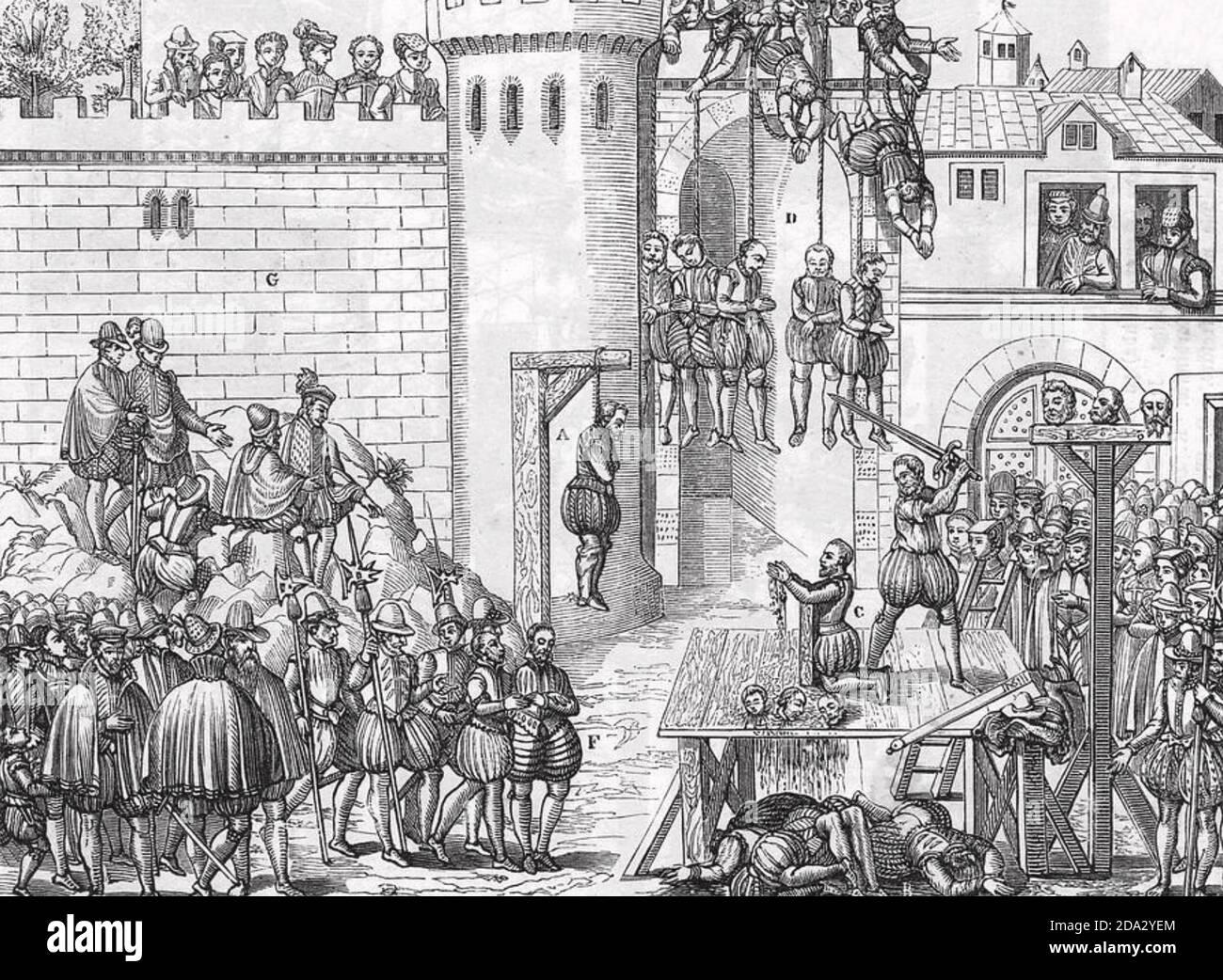 MASSACRE OF THE HUGUENOTS in Paris on St Bartholomew's Day 24 August 1572 Stock Photo