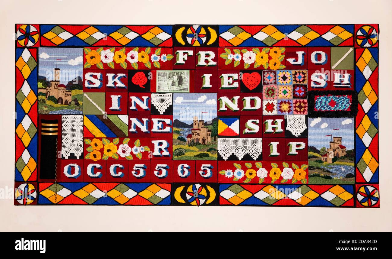 UK, England, Cheshire, Ellesmere Port, National Waterways Museum, Friendship crocheted panel Stock Photo