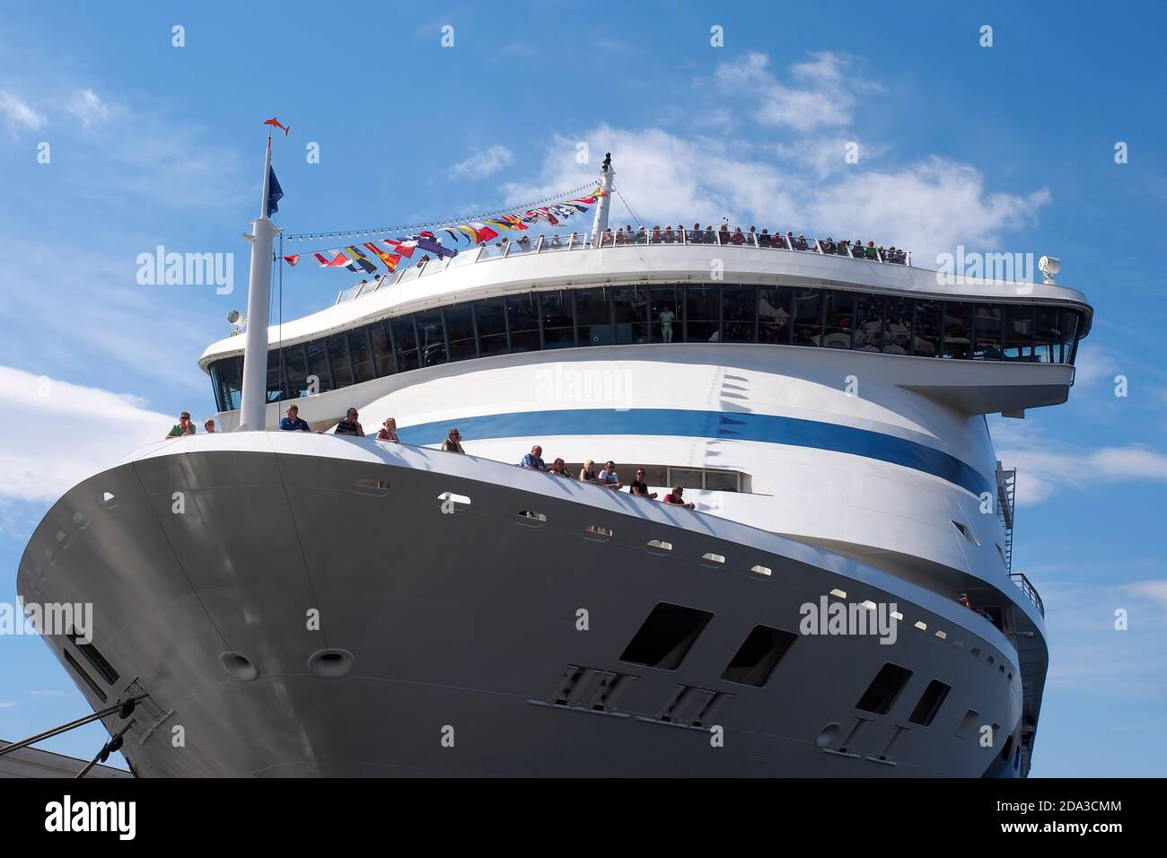 Travel. Bow of a cruise ship anchored in the harbor. Stock Photo